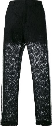 Nude , Lace Panel Trousers Women Cottonpolyester 42, Black