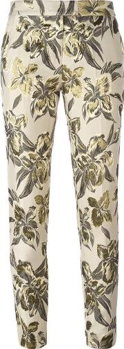 Christian Pellizzari , Floral Print Cropped Trousers Women Cottonacrylicpolyesterviscose 40, Women's, Nudeneutrals