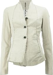 Masnada , Button Front Fitted Jacket Women Cottonlinenflaxresin 40, Women's, Nudeneutrals
