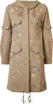 Needle & Thread , Floral Embroidered Coat Women Cottonpolyester 6, Women's, Nudeneutrals