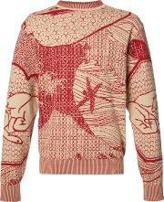Ikiji , Hokusai Mandala Jumper Men Cotton M, Red