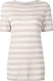 Denis Colomb , Short Sleeved Striped Sweatshirt Women Silkcashmere M, Women's, Nudeneutrals