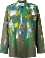 Forte Couture , Paint Mark Military Jacket Women Cottonpolyester S, Green