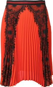 Ainea , Lace Panel Pleated Skirt Women Polyester 42, Women's, Red