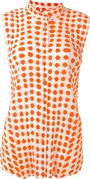 Pleats Please By Issey Miyake , Ribbed Effect Dots Print Shirt Women Polyester 4, Women's, White