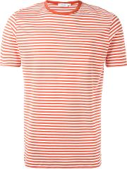 Sunspel , Fine Stripe T Shirt Men Cotton S, Red