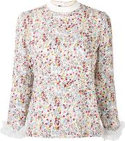 Mother Of Pearl , White Floral Print Blouse Women Silkpolyamide 10