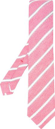 Isaia , Striped Tie Men Linenflax One Size, Red