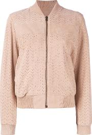 Meteo By Yves Salomon , Perforated Bomber Jacket Women Goat Suede 36, Nudeneutrals