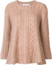Ryan Roche , Flared Cable Knit Jumper Women Cashmeremohair Xs, Nudeneutrals