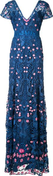 Marchesa Notte , V Neck Floral Dress Women Nylon 0, Women's, Blue