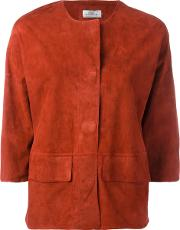 Desa Collection , Concealed Fastening Cropped Jacket Women Suede 36