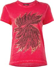Diesel , Feathers Print T Shirt Women Cotton Xxs, Women's, Red