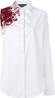 Filles A Papa , Crash Embellished Asymmetric Shirt Women Cottonspandexelastane 1, White