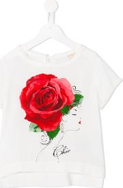 Monnalisa Chic , Rose Print T Shirt Kids Viscose 4 Yrs, White
