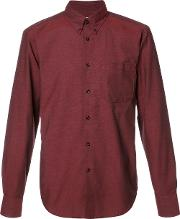 Naked And Famous , Button Down Shirt Men Cotton S, Red