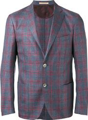 Corneliani , Checked Blazer Men Silkvirgin Woollinenflax 52, Blue