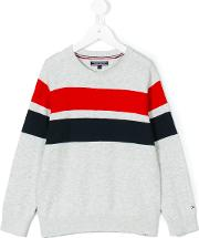 Tommy Hilfiger Junior , Striped Sweater Kids Cotton 4 Yrs, Grey