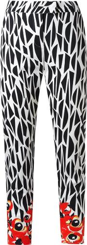 Isolda , Printed Straight Trousers Women Cotton 34, Black