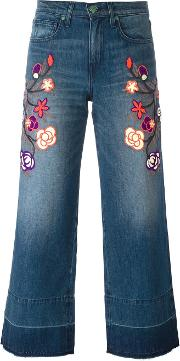 Sandrine Rose , Floral Embroidered Cropped Jeans Women Cotton 25, Blue