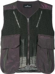 Stone Island Shadow Project , Mesh Panel Gilet Men Cottonpolyester L, Green