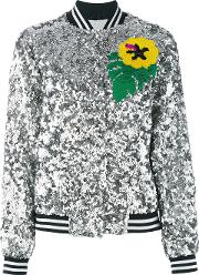 Mira Mikati , Sequinned Bomber Jacket Women Silkpolyester 34, Grey