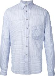 Forme Dexpression , Forme D'expression Striped Panelled Shirt Men Silkcotton 48, Blue