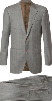 Canali , Two Piece Plaid Suit Men Cuprowool 58, Nudeneutrals
