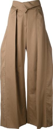 Preen By Thornton Bregazzi , Pleated Detail Palazzo Trousers Women Cottonpolyester S, Brown