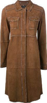 Twinset , Twin Set Mid Length Suede Coat Women Goat Skin 42, Brown