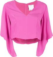 Cmeo , Cmeo V Neck Cropped Blouse Women Polyesterviscose M, Women's, Pinkpurple