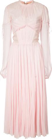 J Mendel , J. Mendel Chiffon Pleated Dress Women Silk 6, Women's, Pinkpurple