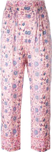 Masscob , Cropped Floral Trousers Women Silk 36, Women's, Pinkpurple