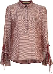 Hellessy , 'mauro' Striped Shirt Women Silkcottonpolyesterwool 4, Women's, Pinkpurple