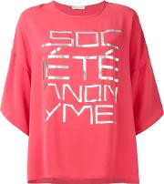 Societe Anonyme , Oversized Front Print T Shirt Women Silk One Size, Women's, Pinkpurple