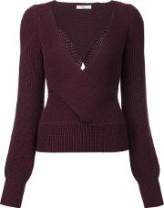Tome , Cut Off Detailing V Neck Blouse Women Wool M