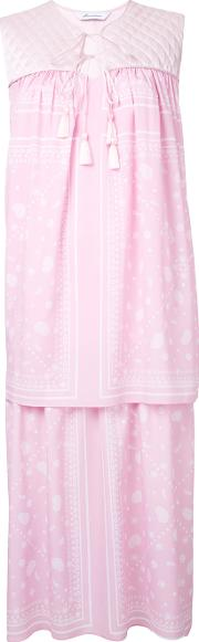 Fleamadonna , Paisley Print Layered Dress Women Silkpolyester M, Women's, Pinkpurple