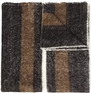 Denis Colomb , 'dolpo' Striped Shawl Unisex Cottoncashmere One Size, Brown