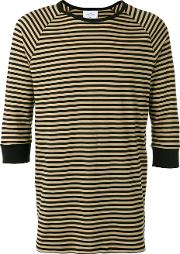 The White Briefs , Anchovy Striped T Shirt Men Organic Cotton L, Black