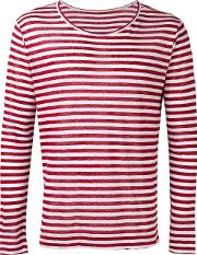 Massimo Alba , Striped T Shirt Men Linenflax M, Red