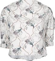 08sircus , Cropped Floral Print Blouse Women Cottoncupro 36, Women's, White