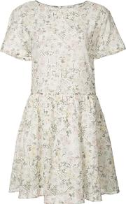 Anine Bing , Flared Floral Dress Women Cottonviscose S, Women's, White