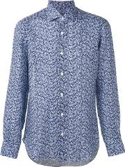 Barba , Patterned Shirt Men Linenflax 41, Blue