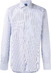 Barba , Striped Shirt Men Cotton 39, White