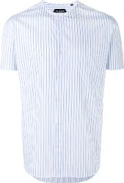 Curieux , Stripe Collarless Shirt Men Cotton L, Blue