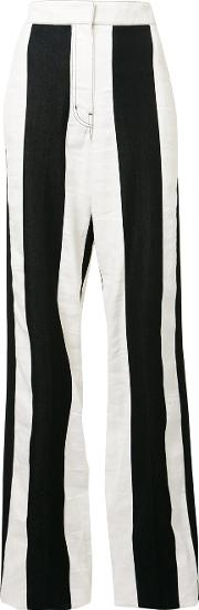 Derek Lam , High Rise Striped Trousers Women Cottonlinenflax 40, Black