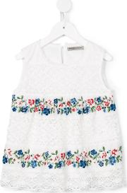 Ermanno Scervino Junior , Floral Embroidery Lace Blouse Kids Cottonpolyester 12 Yrs, Girl's, White