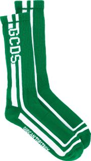 Gcds , Intarsia Knit Socks Men Cottonpolyamidespandexelastane One Size, Green
