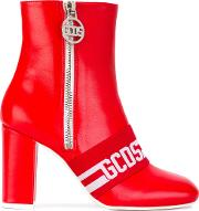 Gcds , Logo Stripe Ankle Boots Women Leatherrubber 39, Red