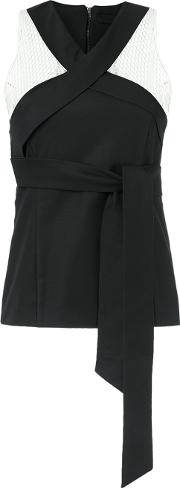 Giuliana Romanno , Tie Detail Top Women Cottonelastodiene 38, Black